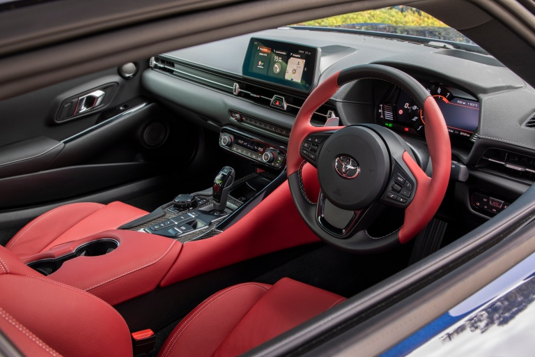 2019 Toyota GR Supra GTS Le Mans Blue red leather-accented interior.